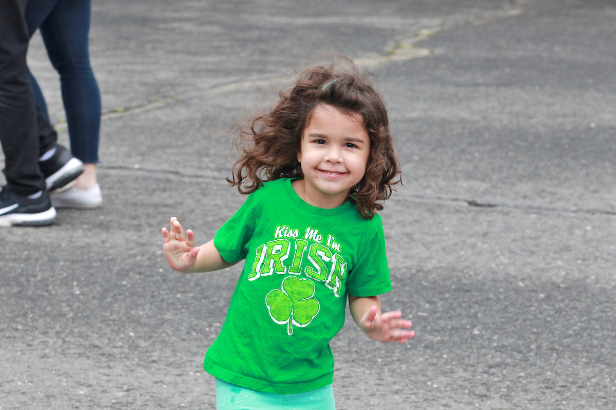 girl in irish shirt